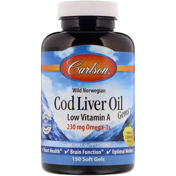 Wild Norwegian, Cod Liver Oil Gems, Low Vitamin A, Natural Lemon Flavor, 230 mg, 150 Soft Gels