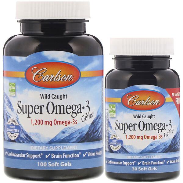 Выловлено в диких условиях, Супер жемчужины с Омега-3, 1 200 мг, 100 + 30 мягких таблеток