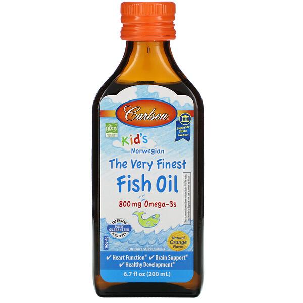 Kid's, норвежская серия, самый лучший рыбий жир, натуральный ароматизатор со вкусом апельсина, 800мг, 200мл (6,7жидкойунции)