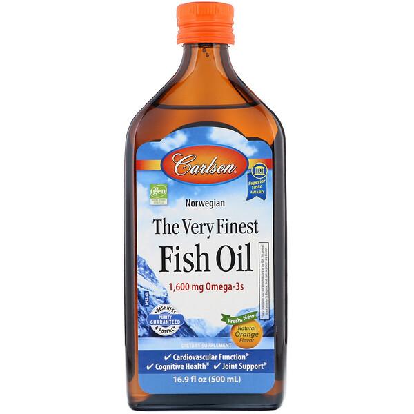 Норвежская серия, самый лучший рыбий жир, натуральный апельсиновый вкус, 1600 мг, 500 мл (16,9 жидких унций)