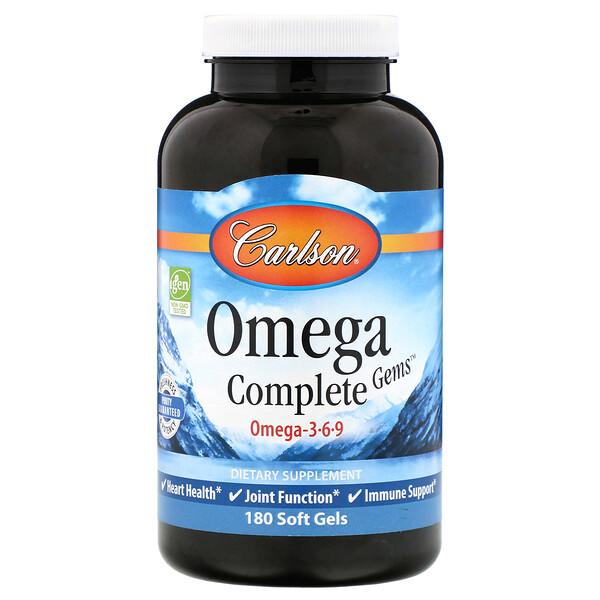 Carlson Labs, Omega Complete Gems, 180 Soft Gels
