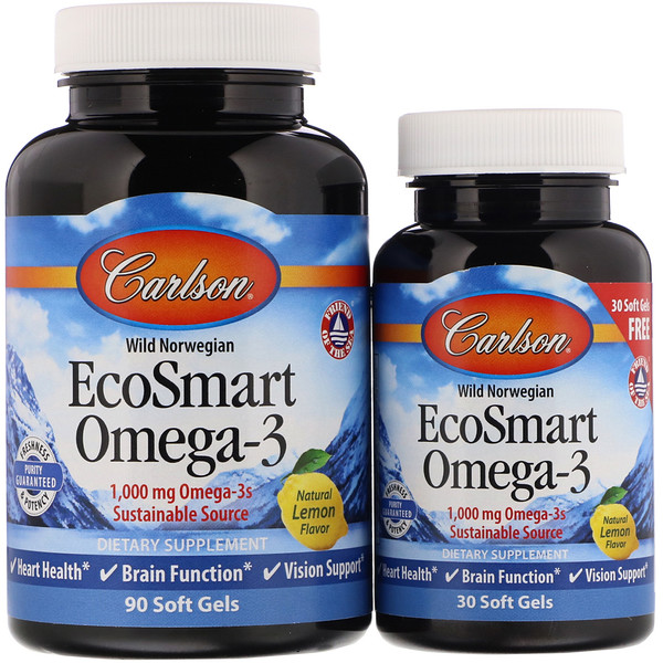 Carlson Labs, EcoSmart Omega-3, натуральный ароматизатор «Лимон», 1000мг, 90 + 30желатиновых капсул