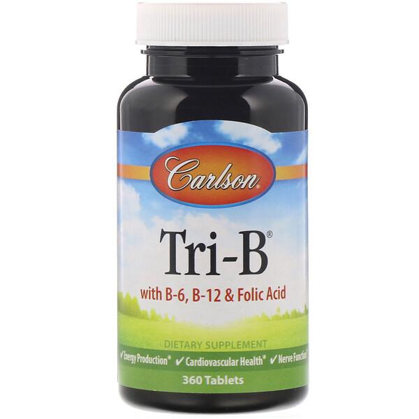 Carlson Labs, Tri-B, комплекс с витаминами B6, B12 и фолиевой кислотой, 360 таблеток