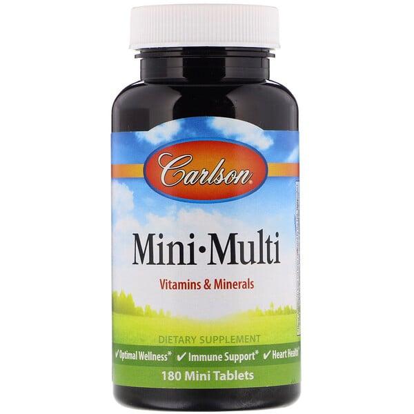 Mini-Multi, витамины и минералы, без железа, 180 таблеток
