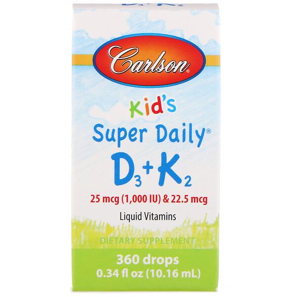 Carlson Labs, Kid's, Super Daily D3+K2, 25 mcg (1,000 IU) & 22.5 mcg, 0.34 fl oz (10.16 ml)