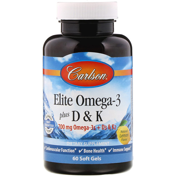 Carlson Labs, Комплекс омега-3 и витаминов D и K, натуральный вкус лимона, 60 мягких таблеток