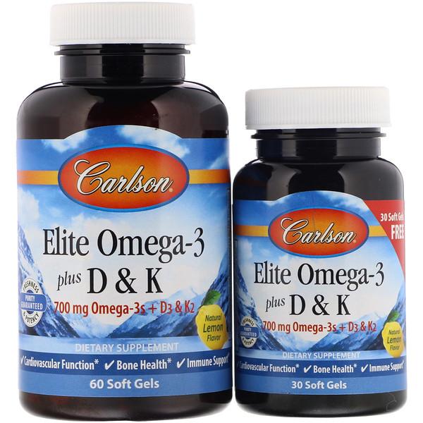 Carlson Labs, Elite Omega-3 Plus D & K, с натуральным вкусом лимона, 60 + 30 бонусных мягких капсул