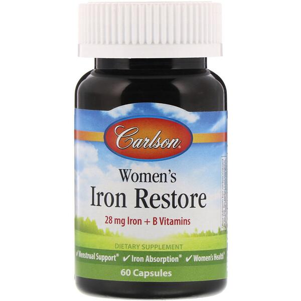 Carlson Labs, Womens Iron Restore, 28 mg Iron + B Vitamins, 60 Capsules (Discontinued Item)