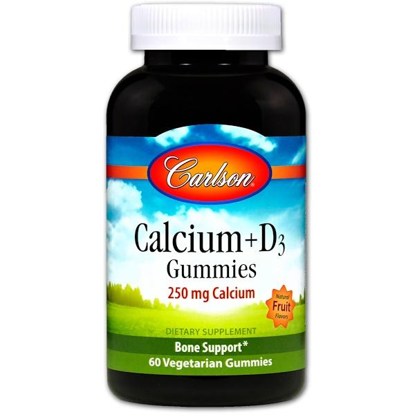 Carlson Labs, Кальций + пастилки D3 с натуральным фруктовым ароматом, 60 вегетарианских пастилок (Discontinued Item)