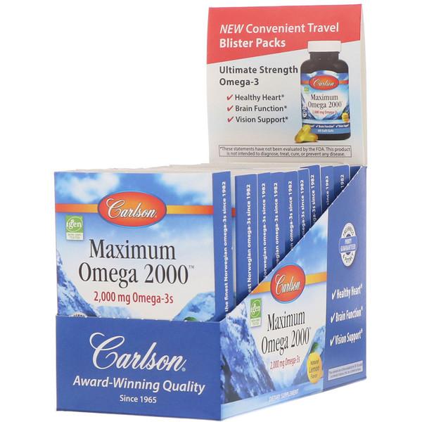 Carlson Labs, Maximum Omega 2000, Natural Lemon Flavor, 2,000 mg, 10 Pack, 10 Soft Gels Each (Discontinued Item)