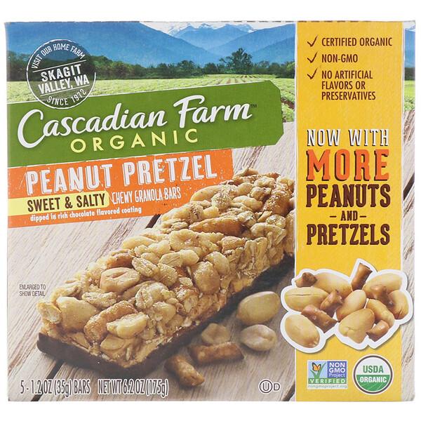 Органические жевательные батончики с мюсли, сладко-соленые, арахисовый крендель, 5 батончиков, 1,2 унции (35 г) каждый