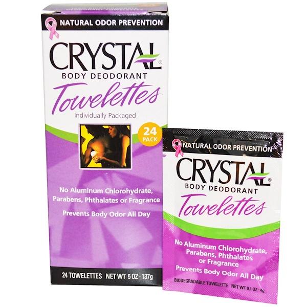 """Crystal Body Deodorant, Влажные салфетки-дезодарант """"Кристальное тело"""", 24 влажных салфеток, 4 г (0,1 унции) каждая (Discontinued Item)"""