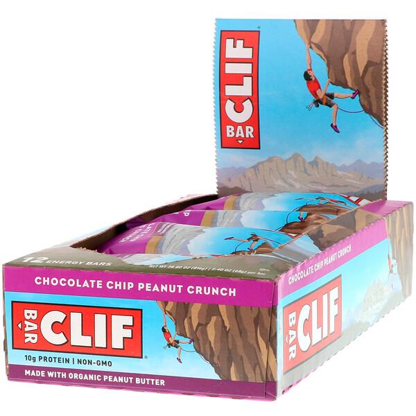 Энергетический батончик, шоколадная крошка и персик, 12 батончиков, 2,40 унции (68 г) каждый