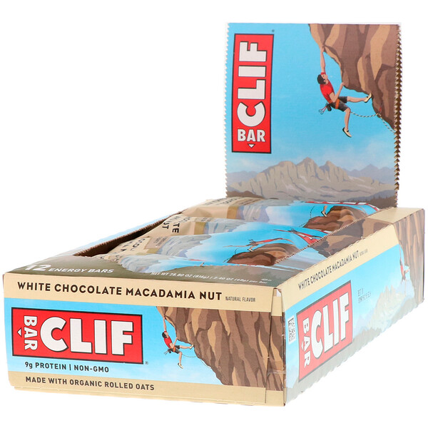 Энергетический батончик с белым шоколадом и орехом макадамия, 12 батончиков, 2,40 унции (68 г) каждый