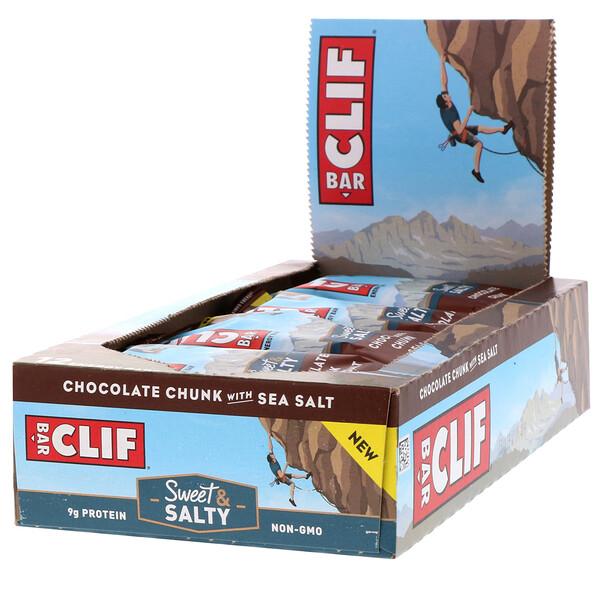 Clif Bar, Energy Bar, Chocolate Chunk with Sea Salt, 12 Bars, 2.40 oz (68 g) Each