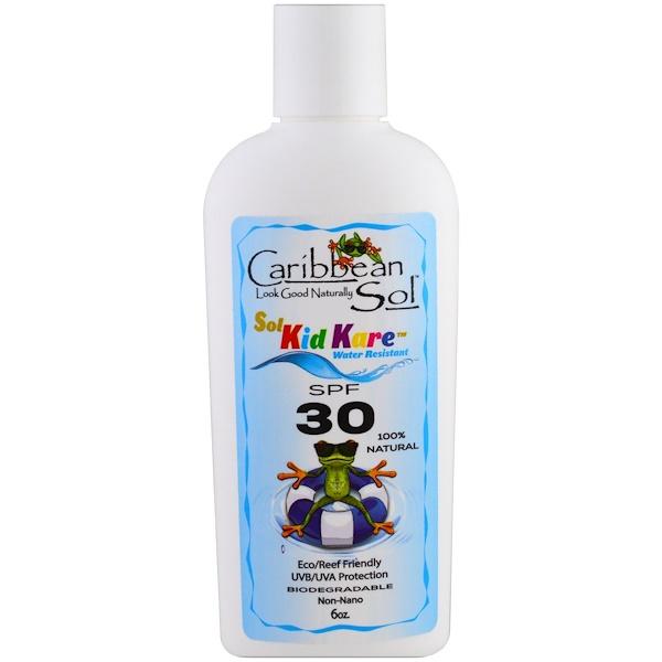 Caribbean Solutions, Sol Kid Kare, SPF 30, Водостойкий, 6 унц. (Discontinued Item)