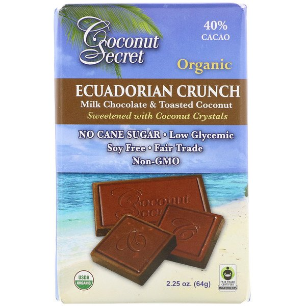 Coconut Secret, Organic Ecuadorian Crunch, Milk Chocolate & Toasted Coconut, 40% Cacao, 2.25 oz (64 g) (Discontinued Item)