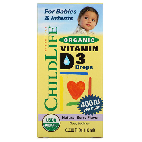 ChildLife, Органический витаминD3 в каплях, натуральный ягодный вкус, 400МЕ, 10мл (0,338жидк.унции)