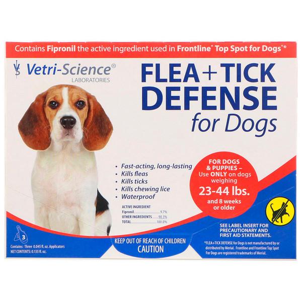 Vetri-Science, Защита от блох и клещей для собак 23-44 фунтов, 3 аппликатора по 0.045 жидких унций каждый (Discontinued Item)