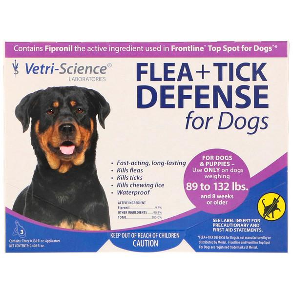 Vetri-Science, Защита от блох и клещей для собак 89-132 фунтов, 3 аппликатора по 0.136 жидких унций каждый (Discontinued Item)