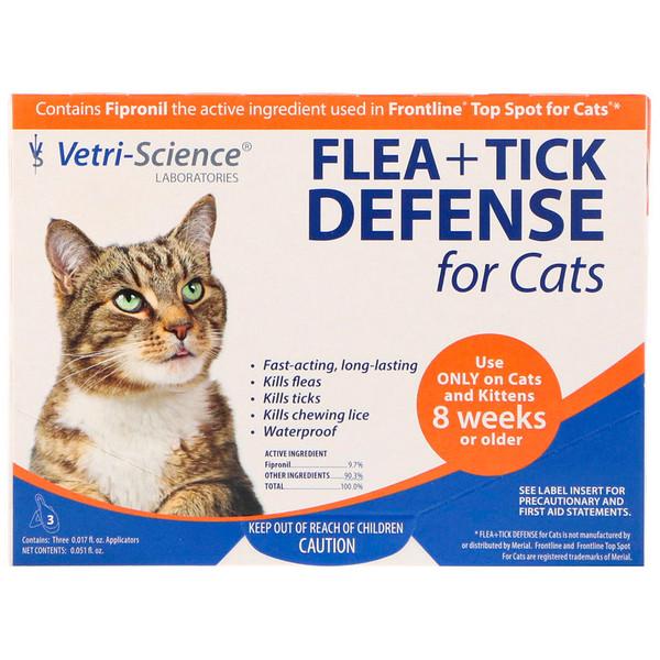 Vetri-Science, Защита от блох и клещей для кошек от 8 недель и старше, 3 аппликатора по 0.017 жидких унций каждый (Discontinued Item)