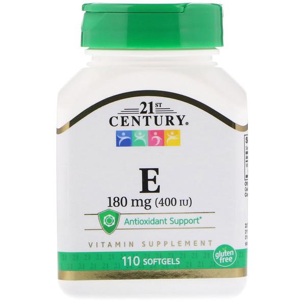 Витамин Е, 180 мг (400 МЕ), 110 мягких желатиновых капсул