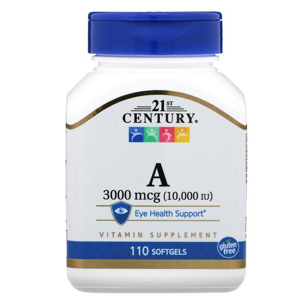 21st Century, ВитаминA, 3000мкг (10000 МЕ), 110мягких желатиновых капсул