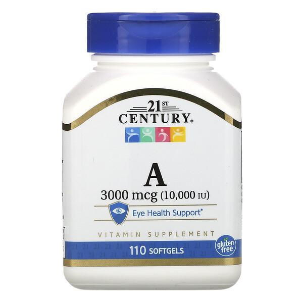 21st Century, ВитаминA, 3000мкг (10000МЕ), 110мягких таблеток