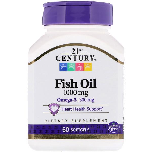 21st Century, Рыбий жир, 1000 мг, 60 мягких желатиновых капсул