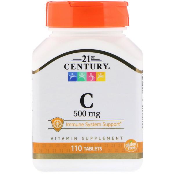 21st Century, Витамин С, 500 мг, 110 таблеток