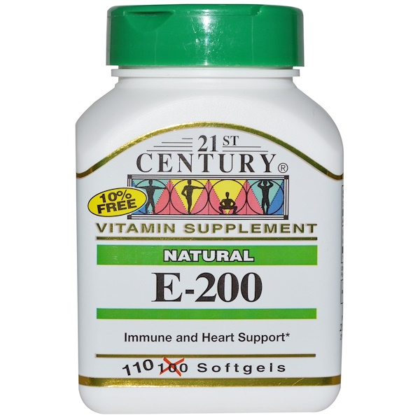 21st Century, E-200, натуральный продукт, 110 мягких капсул (Discontinued Item)