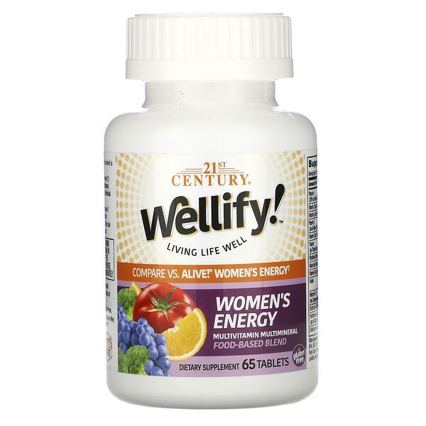 21st Century, Wellify, энергетические мультивитамины и мультиминералы для женщин, 65таблеток
