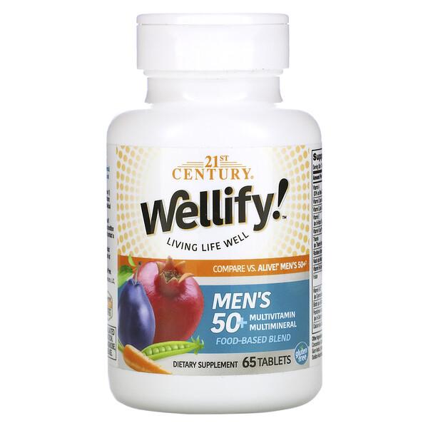 Wellify, мультивитамины и мультиминералы для мужчин старше 50лет, 65таблеток