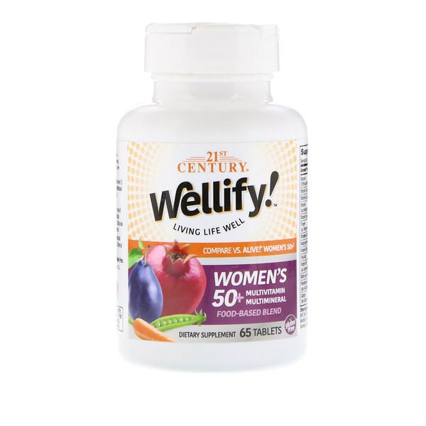 21st Century, Wellify, мультивитамины и мультиминералы для женщин старше 50 лет, 65 таблеток