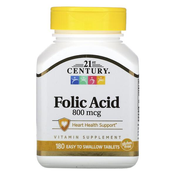 Фолиевая кислота, 800мкг, 180таблеток, которые легко глотать