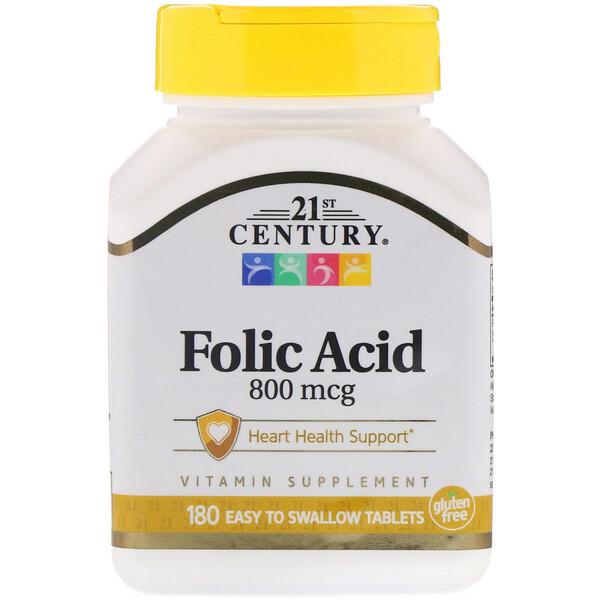 Folic Acid, 800 mcg, 180 Easy to Swallow Tablets
