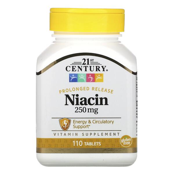 Ниацин, замедленное высвобождение, 250мг, 110таблеток