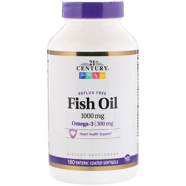 21st Century, Рыбий жир без эффекта рефлюкса, 1000 мг, 180 мягких желатиновых капсул, покрытых кишечнорастворимой оболочкой