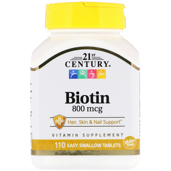 Биотин, 800мкг, 110таблеток, которые легко глотать