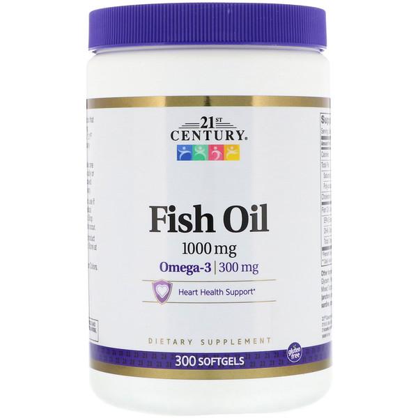 Рыбий жир, омега-3, 1000 мг, 300 мягких таблеток