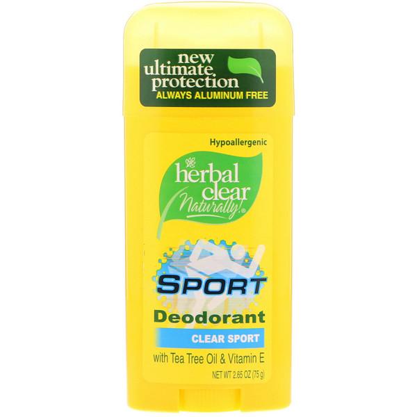 21st Century, Herbal Clear Naturally!, Натуральный дезодорант для тех, кто занимается спортом, Прозрачный, 2,65 унции (75 г) (Discontinued Item)