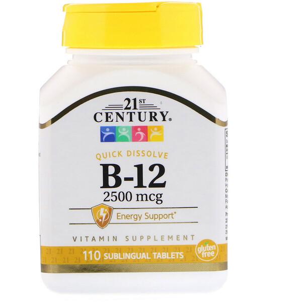 21st Century, В12, 2500 мкг, 110 сублингвальных таблеток