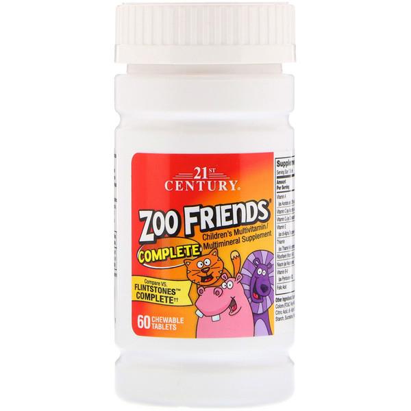 21st Century, Zoo Friends Complete, мультивитаминная и мультиминеральная добавка для детей, 60жевательных таблеток