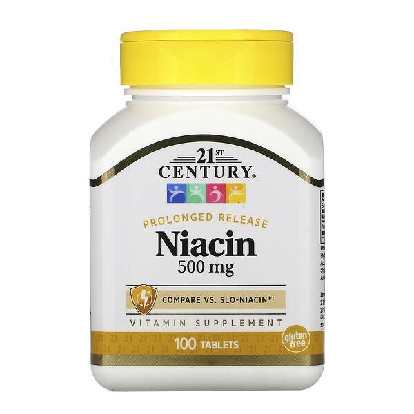 Ниацин, замедленное высвобождение, 500мг, 100таблеток