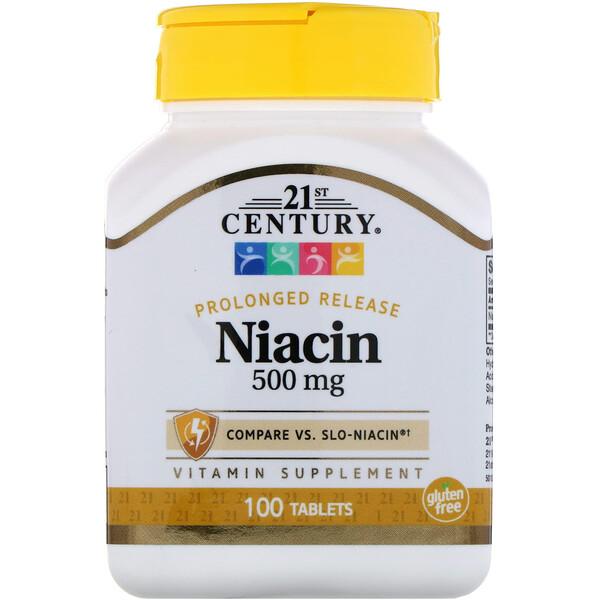Ниацин, пролонгированное высвобождение, 500 мг, 100 таблеток