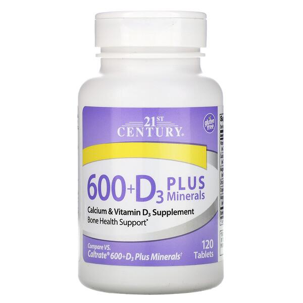 21st Century, 600+D3 с минералами, 120 таблеток