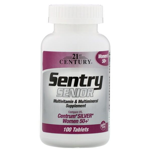21st Century, Sentry Senior, мультивитаминная и мультиминеральная добавка, для женщин старше 50лет, 100таблеток