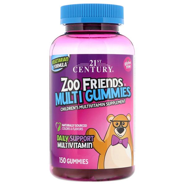 21st Century, Zoo Friends Multi Gummies, мультивитаминная добавка для детей, 150 жевательных конфет (Discontinued Item)