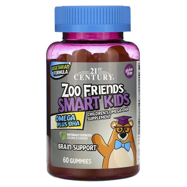 21st Century, Zoo Friends, Smart Kids, омега жирные кислоты с ДГК, 60жевательных конфет (Discontinued Item)
