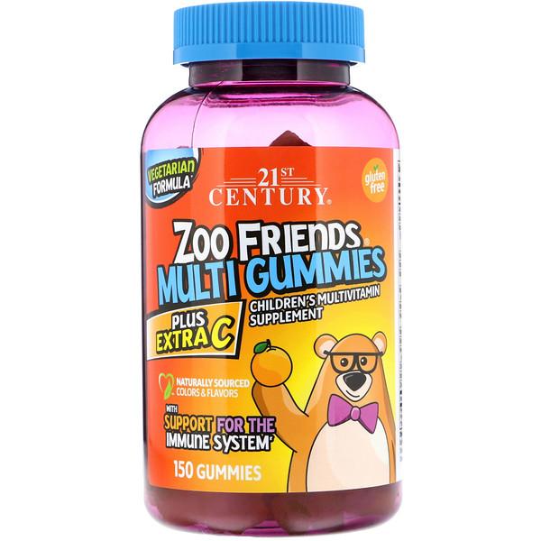 21st Century, Мультивитаминные жевательные таблетки Zoo Friends, Plus Extra C, 150 жевательных таблеток (Discontinued Item)